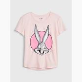 Gap女童棉質印花圓領短袖T恤546050-櫻花粉