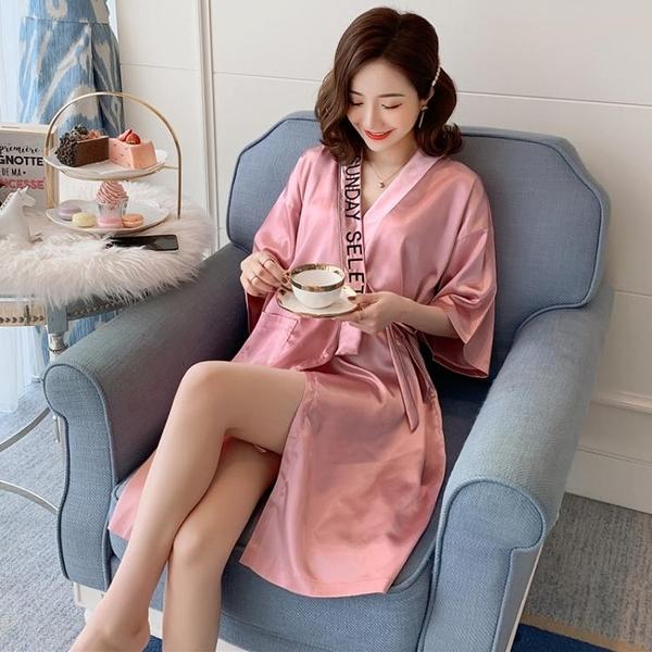 浴袍 睡衣女春秋冰絲綢真絲睡袍大碼性感浴袍夏季睡裙薄字母和服家居服  美物 99免運
