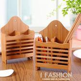 竹木質可掛式筷子籠 廚房瀝水筷子筒雙格分類餐具籠筷子架筷籠·Ifashion
