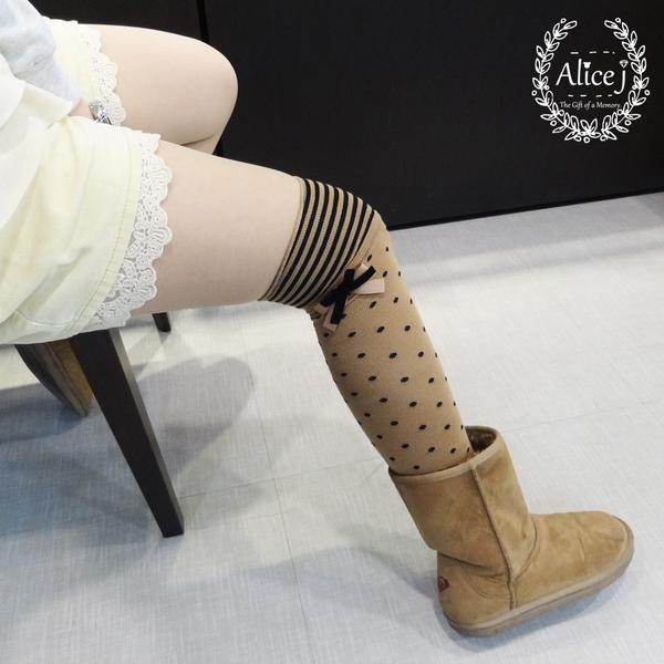 女孩兒知名愛牌  蝴蝶結點點長統襪
