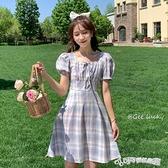 法式洋裝 裙子仙女夏季新款2020法式復古高腰顯瘦格子方領泡泡袖洋裝森系