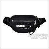 BURBERRY白字LOGO尼龍拉鍊胸掛包(黑)