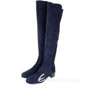 Stuart Weitzman RESERVE 麂皮拼接過膝長靴(深藍色) 1530379-23