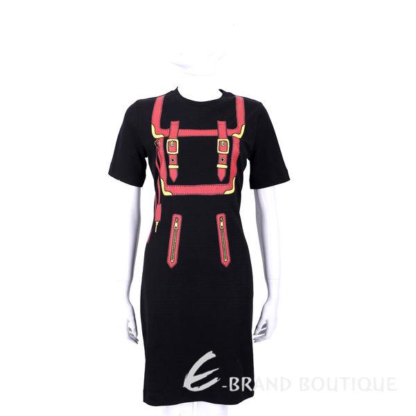LOVE MOSCHINO 黑色釦帶圖印短袖洋裝 1620410-01