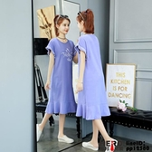 洋裝連身裙印花寬松字母T恤過膝顯瘦大碼連身裙