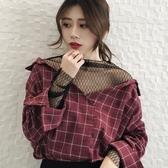 正韓新款寬鬆學院風假兩件網紗拼接格子V領百搭長袖襯衫上衣女潮