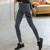 現貨-運動褲-S-2XL彈力線條黑灰撞色修身顯瘦運動褲Kiwi Shop奇異果0717【STD9427】