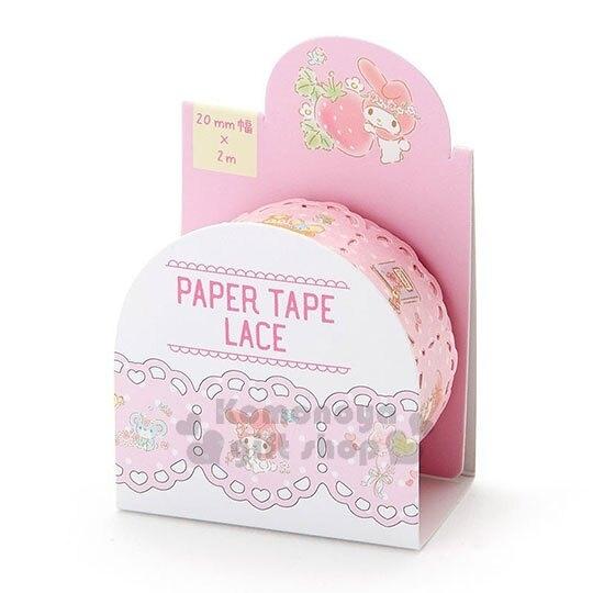 〔小禮堂〕美樂蒂 蕾絲造型紙膠帶《粉.抱草莓》20mmx2m.裝飾貼.黏貼用品 4901610-16673