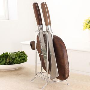 G+居家 304不鏽鋼桌上型菜刀砧板收納架(三格大款)