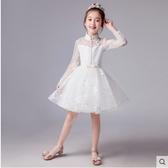小鄧子女童公主裙兒童禮服蓬蓬紗白色主持人鋼琴演出服花童婚紗生日裙子