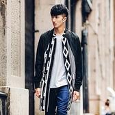 風衣外套-歐美時尚帥氣流行中長版幾何印花男大衣73ip62【時尚巴黎】
