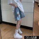 牛仔五分褲女夏季新款ins高腰顯瘦破洞直筒中褲網紅寬鬆闊腿【全館免運】