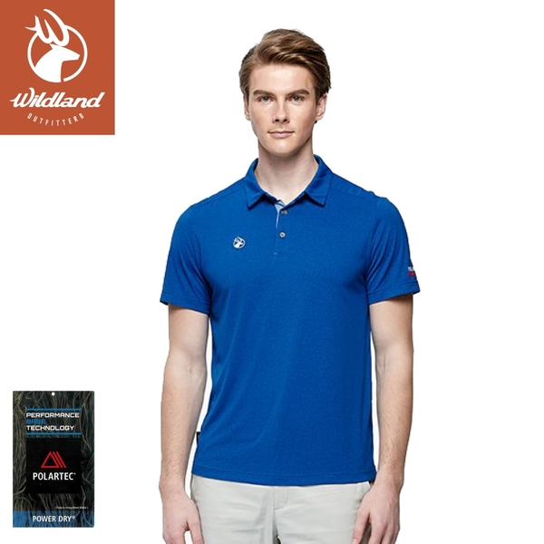 【Wildland 荒野 男 POLARTE雙色抗UV排汗衫《閃電藍》】P1616/排汗衣/POLO衫/運動短袖/休閒短袖