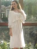 英國夏季新款高貴蕾絲舒適針織棉雪紡奢華公主長裙 家居服睡衣-nig315