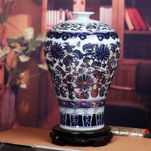 古典青花瓷大花瓶纏蓮牡丹花