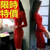 洋裝-長袖俏麗氣質典雅韓版連身裙2色61a82【巴黎精品】