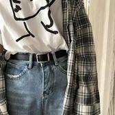 韓國百搭長方形扣復古黑色細腰帶BF風韓版學生青年皮帶休閑褲帶女