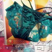 性感蕾絲刺繡內褲女歐美綁帶透明誘惑網紗鏤空花朵包臀繫帶三角褲【奇貨居】