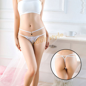 內褲 氣質典雅寶石蕾絲丁字褲(白)【耶誕慶典】