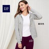 Gap女裝 LOGO舒適連帽拉鏈長袖休閒外套 355188-麻灰色
