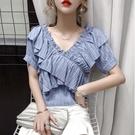 2021夏季新款甜美超仙洋氣荷葉邊v領上衣一字露肩雪紡衫女短袖潮