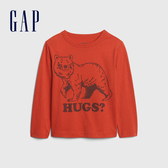 Gap男幼童 保護動物主題圓領長袖T恤 617812-橘紅色