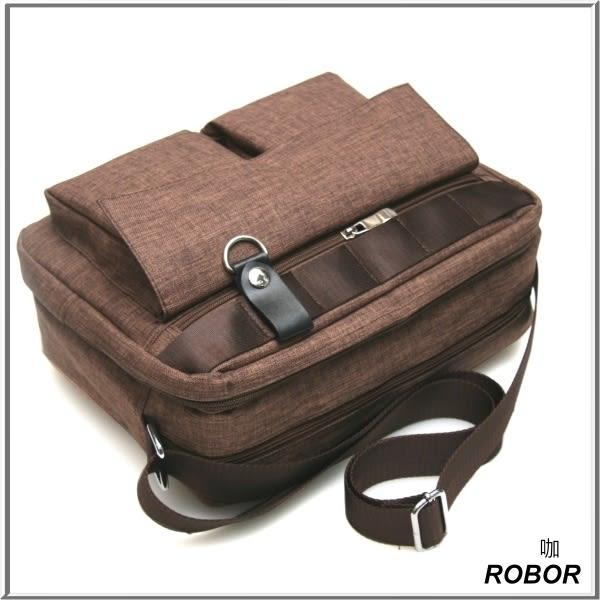 斜背包男ROBOR潮流休閒時尚雙口袋平板筆電包電腦包