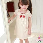 【Anny pepe】女童童裝 米印紅點短袖洋裝_美國精梳棉