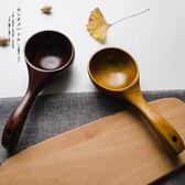 E釐米復古日式木質湯勺原木米瓢水瓢創意木勺子調羹勺麵粉雜糧勺