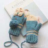 秋冬季軟妹毛線手套女冬 可愛韓版卡通保暖學生加厚連指針織手套 莫妮卡小屋