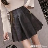 皮裙女半身裙秋季新款韓版黑色a字短裙百搭蓬蓬裙高腰百褶裙 雙十二全館免運