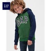 Gap男童 logo舒適襯裡長袖連帽衛衣 496787-綠色