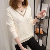 針織衫女套頭短款韓版寬鬆2019秋裝新款長袖女士V領小清新毛衣