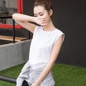 純棉無袖白色T恤女韓版寬鬆夏裝新款背心學生運動純棉黑色上衣潮 錢夫人