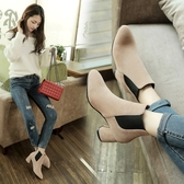 大尺碼女鞋34~43 時尚簡約顯瘦百搭絨面中跟切爾西靴 短靴子~3色