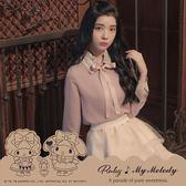 【限時79折出清】上衣 My Melody x Ruby 聯名款.綁帶雪紡長袖上衣-Ruby s 露比午茶