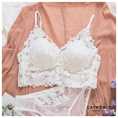 Catworld 瑪麗王后。無鋼圈鏤空花朵蕾絲內衣(白)【18808399】‧S-L