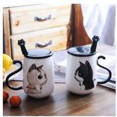 杯子 貓咪杯子陶瓷馬克杯帶蓋勺可愛韓版辦公室大容量創意女學生情侶杯 99免運
