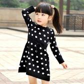 春秋冬季新款兒童裝淑女波點長袖連身裙子毛衣氣質女童洋裝 滿天星