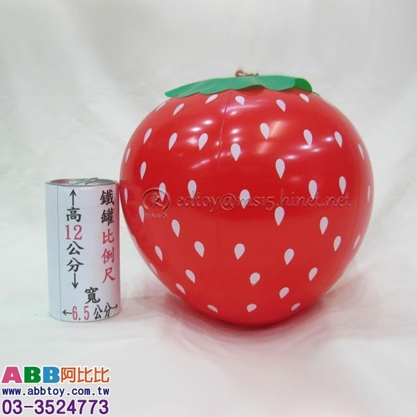 B0407_充氣草莓球_36cm#皮球海灘球大骰子色子充氣棒武器道具槌子錘子充氣槌