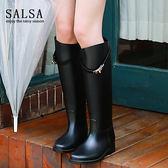 正韓時尚雨靴女高筒成人冬季防滑鎖扣長筒水鞋女士雨鞋雨靴雨靴水靴防水鞋台秋節88折