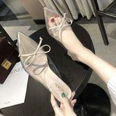 涼拖鞋女外穿2019新款韓版蝴蝶結高跟女鞋穆勒鞋包頭半拖女ins潮