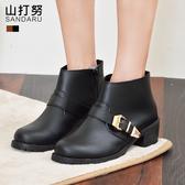 低跟短靴 側扣粗跟素面短靴