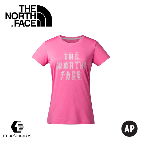 【The North Face 女款 FlashDry Print Tee 短袖排汗衣〈粉紅〉】2XV4/短袖/排汗衣/運動上衣