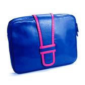 【LILI RADU】德國新銳時尚設計品牌 手工雙色時尚小牛皮電腦包 筆電包 平板包 手拿包 (彩豔藍)