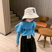 女童泡泡袖裝上衣年中大童洋氣短款t恤長袖純棉韓版潮