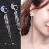 925純銀針  韓國優雅氣質 滿鑽雙D  耳環-維多利亞1811114