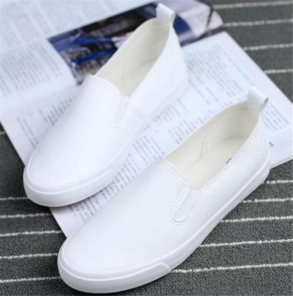 樂福鞋 一腳蹬女鞋秋季黑色皮面小白鞋豆豆鞋樂福鞋懶人鞋平底平跟休閒鞋 薇薇