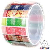 【奇奇文具】【ESTAPE】RHS8004 抽取式易撕貼 OPP 膠帶/創意膠帶 (繽紛版組合耶誕)