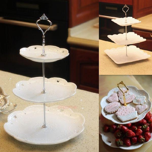 [超豐國際]歐式陶瓷三層水果盤蛋糕架蛋糕盤下午茶點心盤時